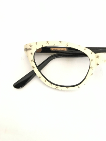 White Cat Eye Glasses with Gold Foil Stars